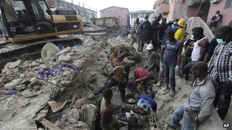 Rescue operations in Lagos, Nigeria, after a building collapses (11 July 2013)
