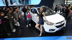 Hyundai car on display in China