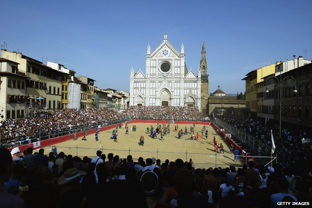 Calcio Storico takes place in the Santa Croce Piazza, Florence
