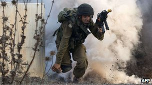 Israeli soldier during military drill