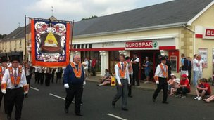 Orange Order chaplain Rev Mervyn Gibson at the Rasharkin parade