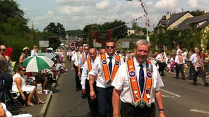 Orangemen taking part in the parade in Loughbrickland