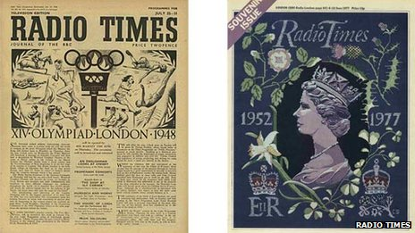 Radio Times covers from 1948 and 1977