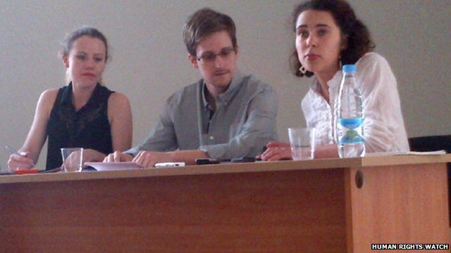 Edward Snowden at the airport meeting in Moscow (12 July 2013)