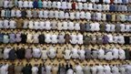Muslim prayers at a mosque