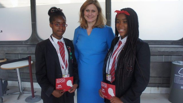 School Reporters Angel and Joyce with Sarah Brown