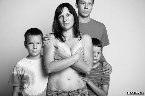 Nicole Meade and her three sons in a photo taken as part of Jade Beall's A Beautiful Body project