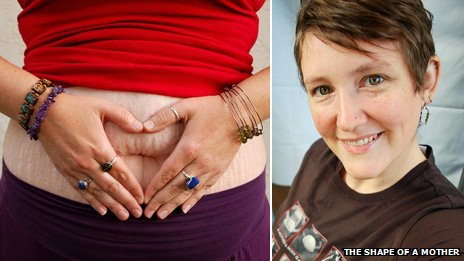 Bonnie Ratliff Crowder - with her hands over her belly button in a heart shape (l) and a portrait shot (r)