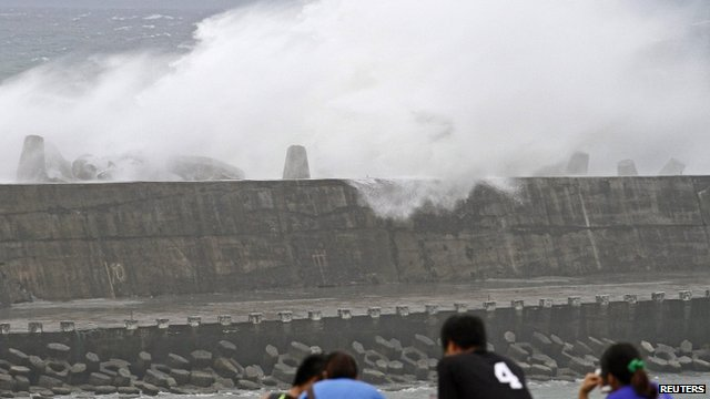 Wave crashing over a sea wall in Taiwan