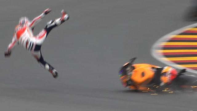 Dani Pedrosa comes off his bike
