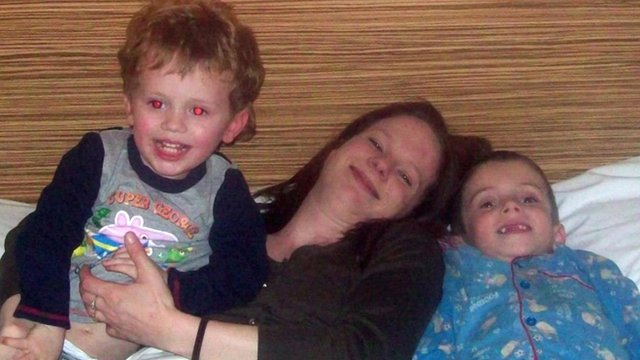 Katherine Hooper and her sons Joshua, five, and two-year-old Samuel