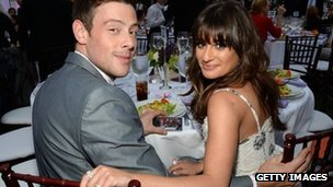 Actors Cory Monteith and Lea Michele at the Chrysalis Butterfly Ball in Los Angeles, US, 8 June 2013