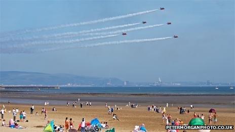 Red Arrows across Swansea beach