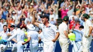 Jonathan Trott celebrates