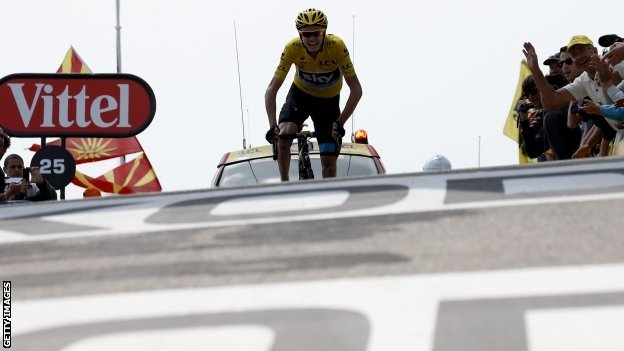 Chris Froome riding to the finish line on Mont Ventoux