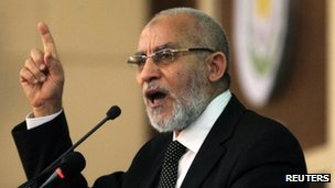 Egyptian Islamic leader Mohamed Badie in Khartoum, November 15, 2012