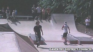 Skaters at the new skate park