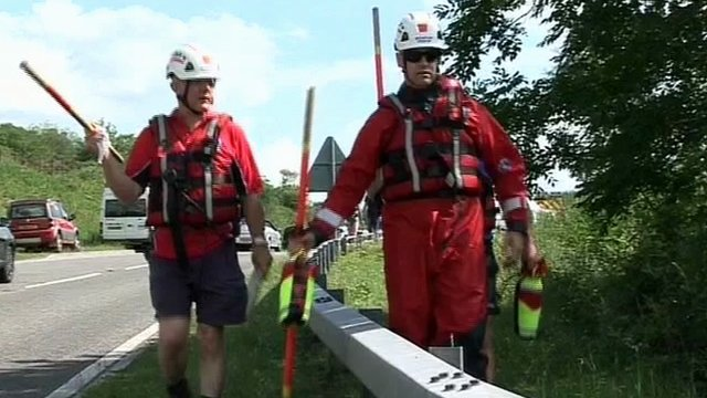 Emergency services at Cantref Reservoir near Merthyr Tydfil