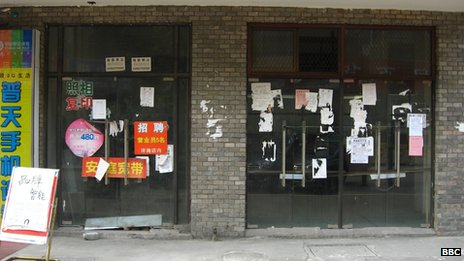 Shuttered shops in Changqingsha