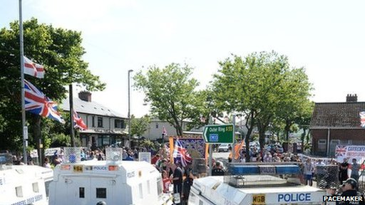 Loyalist protest in north Belfast