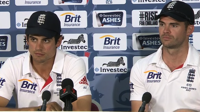 England captain Alistair Cook (l) and bowler James Anderson