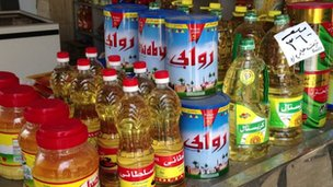 Containers of oil in Ismailia shop