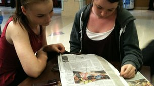 Lauren and Holly read the Malala Day article on the front page of Wall Street Journal