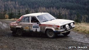 Datsun car in rally race