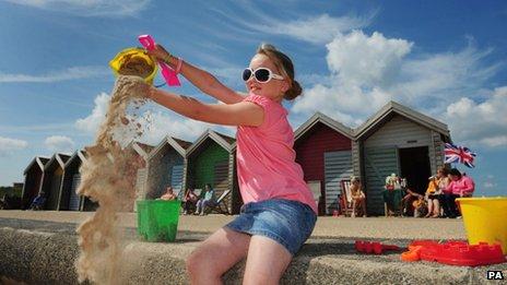 Morgan Gillespie, nine, visiting Blyth beach in Northumberland on 9 July 2013