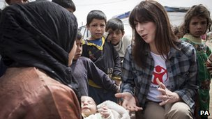 Samantha Cameron meets children in a refugee camp in Lebanon in March