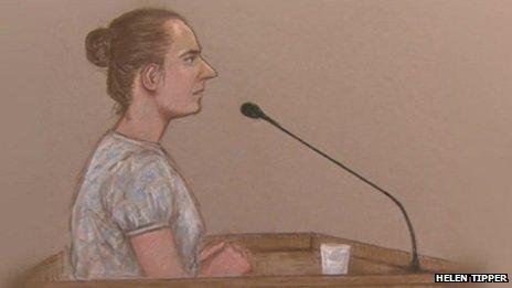 Court artist sketch of Magdelena Luczak giving evidence