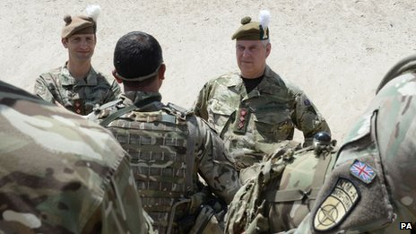 Undated handout photo issued by the Ministry of Defence of the Duke of York (left) during a visit to  Afghanistan in July 2013
