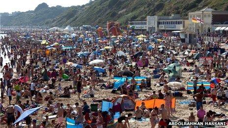 Bournemouth beach on 14 July 2013