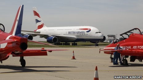 British Airways Airbus A380 at Manston Airport