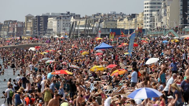 Packed Brighton beach