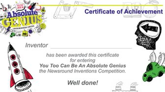 Absolute Genius competition certificate of achievement