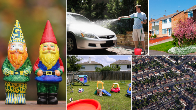 Composite image of garden gnomes, a man washing his car, and several views of suburban housing