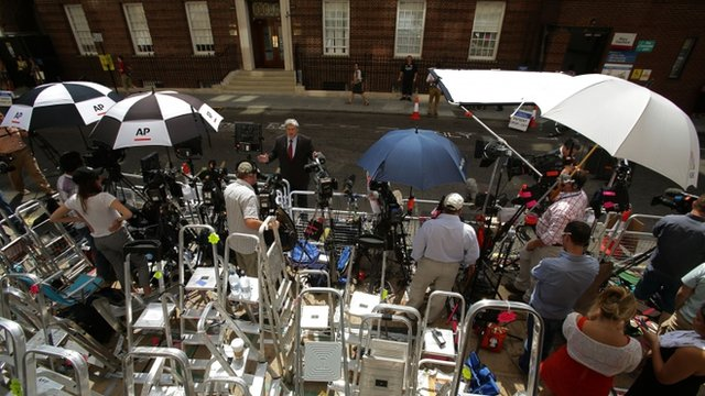 The world's media wait in the press pen opposite the Lindo Wing of St Mary's Hospital in central London