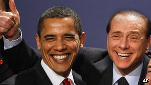Silvio Berlusconi, right, with Barack Obama in 2009