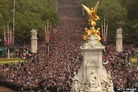 Crowds on The Mall for the Royal Wedding