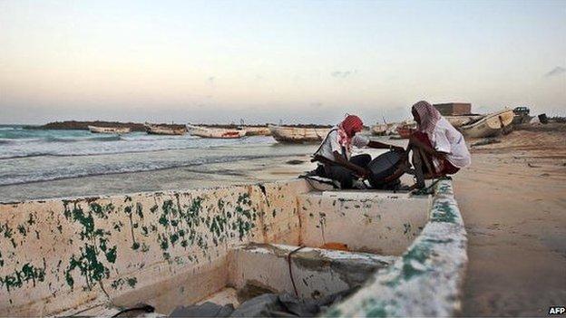 Somali pirates pictured in Hobyo in 2010