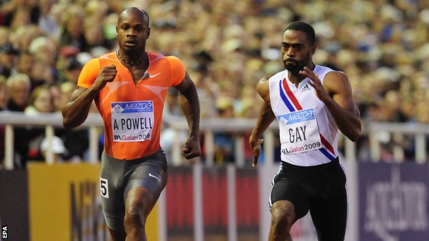 Asafa Powell (right) & Tyson Gay