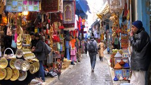 Street market in the Medina of Tunis, Tunisia