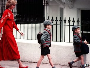 Princess Diana with her young sons William and Harry in school uniform