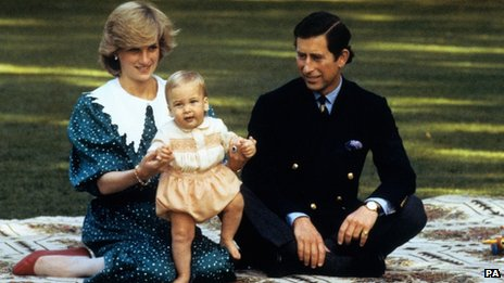 Prince Charles and Princess Diana with Prince William as a baby