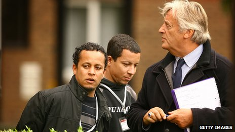 Michael Mansfield QC during a jury visit - outside of a building in London in 2008