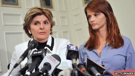 Joslyn James, right, appeared at a news conference with lawyer Gloria Allred