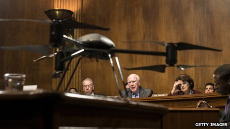 A small drone is on display during a Senate hearing
