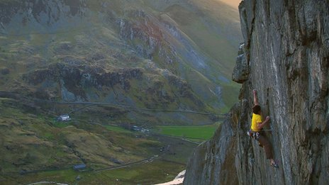 Ioan Doyle climbing the Ogwen Crack