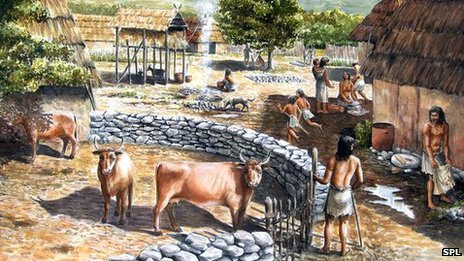 Artwork of Neolithic village